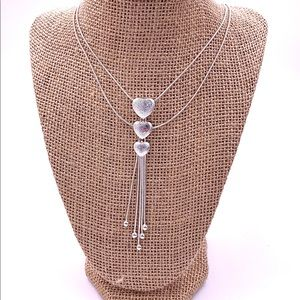 925 silver plated triple heart necklace.
